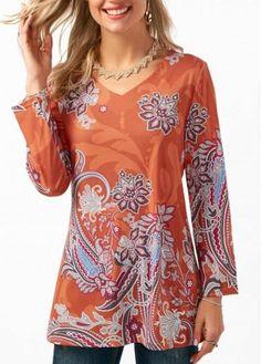 #xmas #Christmas #rotita.com - #unsigned Printed Long Sleeve V Neck Orange T Shirt - AdoreWe.com