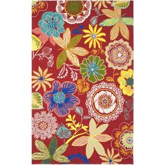 Four Seasons Red/Multi 3 ft. 6 in. x 5 ft. 6 in. Indoor/Outdoor Rectangle Area Rug