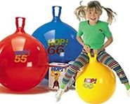 Hippity Hop balls for active indoor or outdoor fun.  Kids will have a bouncing and hopping good time on these bouncing balls with handles.  These are a must for a summer picnic or even a team building event activity. Hoppers even come in adult sizes too.