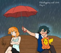 Rain (Pokeshipping week 2016) by Marsy3 on @DeviantArt
