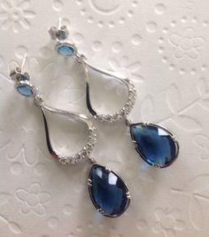 Bodas pendientes, las damas de honor de zafiro pendientes azules, cuelga los pendientes, gota lágrima, de gota de plata, grandes pendientes de gota de lágrima, espárragos, únicos,