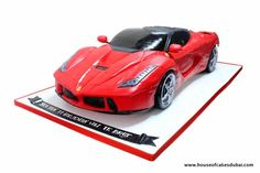 Ferrari car cake - Cake by House of Cakes Dubai Teen Cakes, Cakes For Boys, Motorcycle Birthday Cakes, Semi Truck Cakes, Ferrari Cake, Planes Cake, Gravity Defying Cake, Small Cake, Toy Trucks