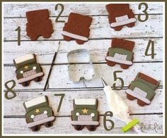 LilaLoa: vintage military jeeps from SugarBelle's bus cutter! Honey Cookies, Iced Cookies, Cut Out Cookies, Sugar Cookies, Cookies Et Biscuits, Camo Cookies, Golf Cookies, Jeep Cake, Sugar Cookie Royal Icing