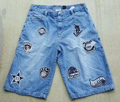 Victorious Men's Cargo Jean Shorts Distressed Patches Cities Sports Size 42     eBay