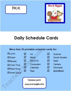 Daily Picture Schedule Cards Blue {PK-K} product from Pre-K-Pages on TeachersNotebook.com