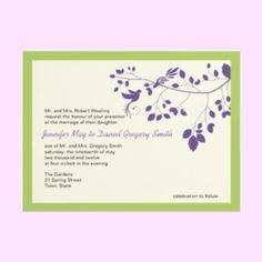 Purple And Green Wedding Invitations Love Birds