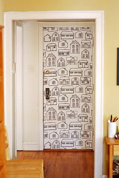 Use a paste of water and cornstarch to make removable wallpaper out of fabric. | 27 DIY Ways To Give Your House A Quick Pick-Me-Up