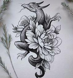 Love Tattoos, Body Art Tattoos, Dragon Tattoo With Flowers, Pheonix Drawing, Dragon Sleeve Tattoos, Tattoo Feminina, Book Tattoo, Mandala Tattoo, Animal Tattoos
