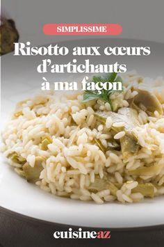 Le risotto aux cœurs d'artichauts à ma façon est un accompagnement facile à cuisiner. Il est parfait pour accompagner un barbecue. #recette#cuisine#risotto#riz #artichauts #accompagnement #bbq #barbecue Saveur, Facon, Grains, Rice, Pasta, Parfait, Barbecue, Risotto, Vegetable Tian