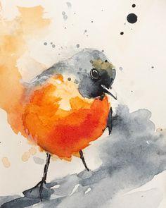 """198 Likes, 3 Comments - Jiří Zralý (@zraly) on Instagram: """"#bird #robin #watercolors"""""""