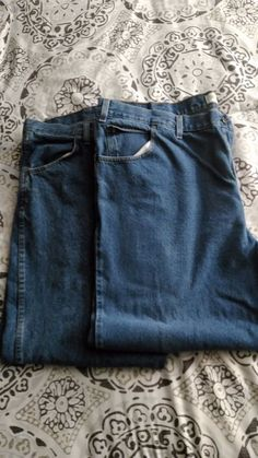 Lot of 2 Pairs of Men's 48x30 Denim Blue Jeans Faded Glory / Rustler #FadedGloryRustler #Relaxed