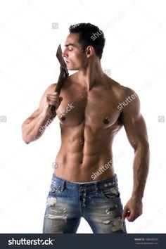 Male Muscular Shirtless Bodybuilder Holding Lumberjack Axe On ...
