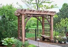 wood arbor with wisteria with gate - Google Search