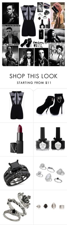 """""""✘ Now I die for the night cause the days are done. I kissed a couple of angels but it wasn't much fun now I shake it with an evil tongue. I do what the good girls don't. I do what the good girls should never ever do. ✘"""" by blueknight ❤ liked on Polyvore featuring NARS Cosmetics, Ciaté, Miss Selfridge, Casetify and Justin Bieber"""