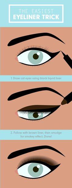 Eyeliner tricks and tips for big eyes. | http://makeuptutorials.com/makeup-tutorials-17-great-eyeliner-hacks/