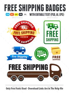 Free Shipping Badges - PSD Template • Only available here ➝ http://graphicriver.net/item/free-shipping-badges/12955146?ref=pxcr