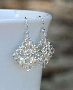 Silver Filigree Earrings on HypoAllergenic by SimplePretties