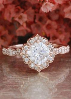 Forever One Moissanite Engagement Ring 14k Rose Gold Mini Vintage Floral Ring 6x6mm Cushion Cut Moissanite Scalloped Diamond Wedding Band