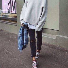 #ootd #cozy sweater #converse #ripped jeans
