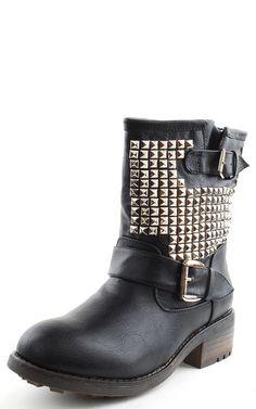 Italo01 Studded Mid Calf Combat Boots