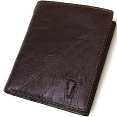 New Mens Genuine Leather Bifold Vintage Wallet TWO ZIPPERD POCKET PURSE-3222 #BlueMount #Bifold #leatherwallet