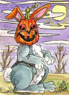 Pumpkin head Bunny Rabbit ACEO EBSQ Kim Loberg Mini Fantasy Art Halloween Moon #IllustrationArt