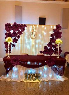 Diy Wedding Backdrop Head Table Decor Ideas For 2019 Wedding Sets, Trendy Wedding, Wedding Table, Wedding Colors, Diy Wedding, Dream Wedding, Altar Wedding, Wedding Arches, Glamorous Wedding