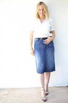 Mother Denim Patchie Skirt ($205.00) and Frenchie Top ($170.00) feat. on @diani living with Iro belt ($300.00) and @Loeffler Randall Ceci pumps ($395.00)