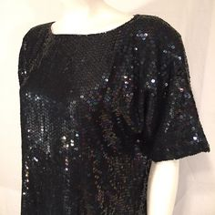 Vintage Large L Black Iridescent Sequin Short Sleeve Shirt Disco Holiday Jewel Queen 80s Eighties by CarolinaThriftChick on Etsy