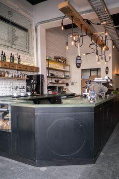 The cafe's modern decor
