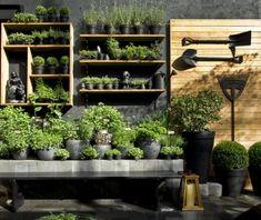 13 New Landscape Design Ideas to Steal in 2015 - Black Hardscape Garden Backdrop ; Garden Shop, Dream Garden, Small Gardens, Outdoor Gardens, Outdoor Pots, Amazing Gardens, Beautiful Gardens, Spring Vegetable Garden, Herb Garden