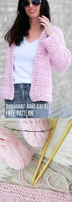 Cotton Candy Easy Knit Cardigan Pattern via Mama In A Stitch Knit and Crochet Pa. Cotton Candy Easy Knit Cardigan Pattern via Mama In A Stitch Knit and Crochet Patterns - Jessica This easy knitting patt. Easy Knitting Patterns, Lace Knitting, Knitting Stitches, Knitting Sweaters, Crochet Patterns, Knitting Ideas, Easy Patterns, Diy Easy Knitting Projects, Knitting Needles