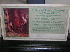 Vintage 1914 Ink Blotter Hubbs & Howe Company Paper & Twine Print Blacksmith