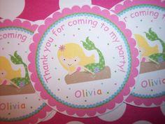 Little+Mermaid+Birthday+Party+Stickers+Mermaid+by+kidEprints,+$5.99