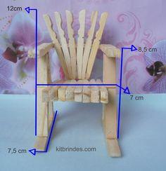 Mini-cadeira artesanal feita com pregadores. Ref_CA10500, Kit Brindes