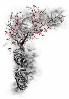 Cherry Blossom Tree w/ Hidden Designs & Incorporated Night Sky Moon