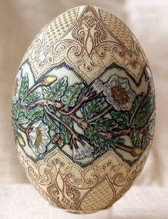 acid etch egg colored with egg tempura paint by Tunde Csuhaj, a Hungarian artist whom I'm proud to call my friend