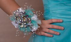 fuschia pink wrist corsage with silver and black ribbon | NEW !! Glass Slipper Corsage Now Available with Aqua Ribbon