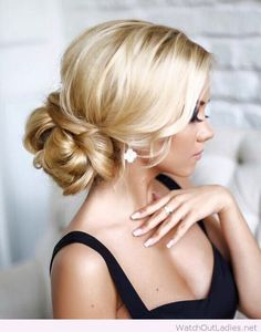Elegant chic wedding hairstyle on blonde hair
