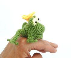 crochet frog, miniature frog king, kiss the frog, funny animal gift, little green frog, amigurumi tiny animal, lime green, mini stuffed doll