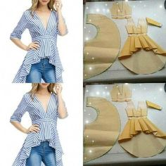 top with skirt tail pattern - SalvabraniImage may contain: stripesTip for sewing ruffles on a top - Salvabrani New Ideas for skirt pattern sewing crafts diy fashion ideas which look fabulous. Sewing Dress, Sewing Ruffles, Dress Sewing Patterns, Blouse Patterns, Diy Dress, Clothing Patterns, Blouse Designs, Pattern Sewing, Skirt Patterns