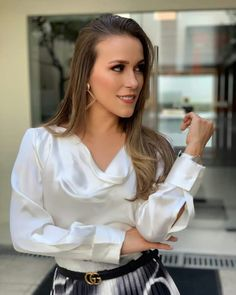 Women in Blouse❤ Sexy Blouse, Bow Blouse, Blouse And Skirt, Ruffle Blouse, White Satin Blouse, Satin Blouses, Silk Satin, Hostess Outfits, Love Shirt