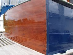 Transom on a Lowell Boats 38' after a few coats of Bristol Finish Traditional Amber at Davis Wharf Marina.