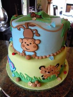 Jungle Fun Cake By Frostilicious Cakes Cupcakes Safari First Birthday