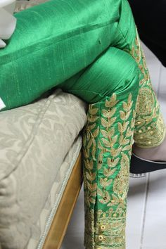 Green Raw silk pants with gold embroidery