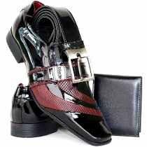 Sapato Social Masculino Couro Envernizado Brilhoso Kit