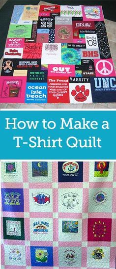 Quick and Easy T-Shirt Quilt Tutorial Rask og enkel T-skjorte Quilt Tutorial Quilting For Beginners, Sewing Projects For Beginners, Quilting Tips, Quilting Tutorials, Quilting Projects, Simple Projects, Patchwork Quilting, Crochet Tutorials, Sewing Tutorials