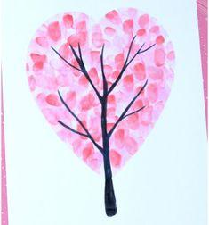 Valentine's day heart fingerprint tree - easy craft for kids // Szív fa - Valentin napi képeslap ujjlenyomatokkal // Mindy - craft tutorial collection // #crafts #DIY #craftTutorial #tutorial