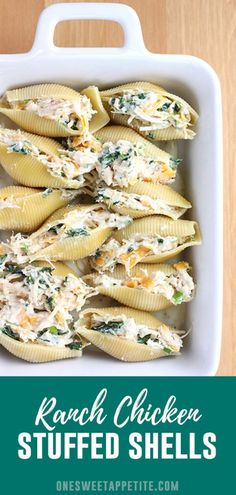 These Ranch Chicken Stuffed Shells are smothered in a homemade Alfredo sauce and sprinkled with crispy bacon. Perfect for a quick and easy weeknight meal! pasta shells Ranch Chicken Stuffed Shells - One Sweet Appetite Think Food, Food For Thought, Chicken Stuffed Shells, Healthy Stuffed Shells, Easy Stuffed Shells, Stuffed Shells Recipe, Mexican Stuffed Shells, Spinach Stuffed Shells, Homemade Alfredo