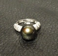 Black Cultured Pearl Ring Sterling Silver by ElegantArtifacts